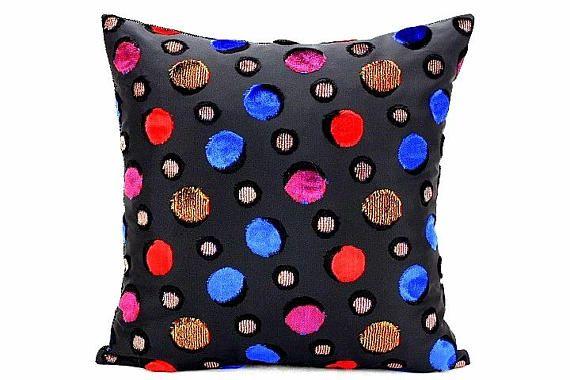 Velvet Throw Cushion Cover Velveteen Polka Dots Pillow Cover