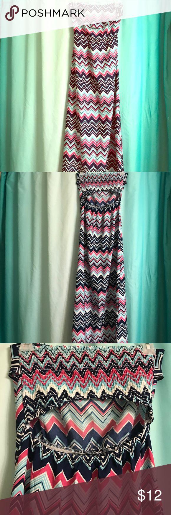Chevron strapless maxi dress White, navy, pink, and baby blue chevron Dresses Maxi