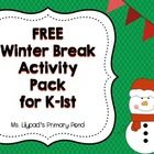 This freebie is a 7-page activity packet that can be sent home with kindergarten or first grade students over Christmas/winter break.  The packet c...