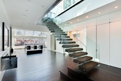 A floating glass staircase
