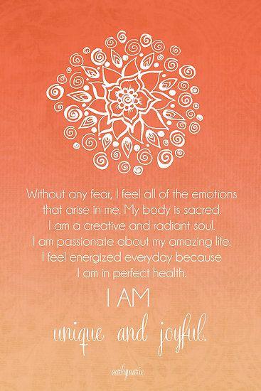 Sacral Chakra Affirmation by CarlyMarie Loved by http://www.shivohamyoga.nl/ #yoga #namaste #yogi #om #chakra #affirmation