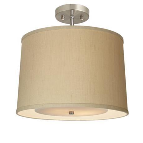 Elegant Herbal Linen Wide Brushed Steel Ceiling Light