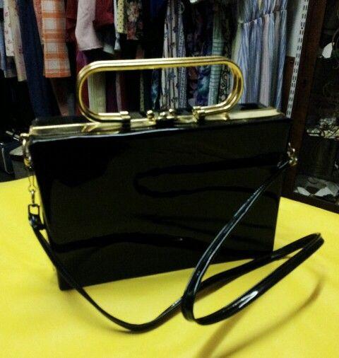 Original 1960's Black Patent Box Bag with Stunning Gold Handles & Original Shoulder Strap!