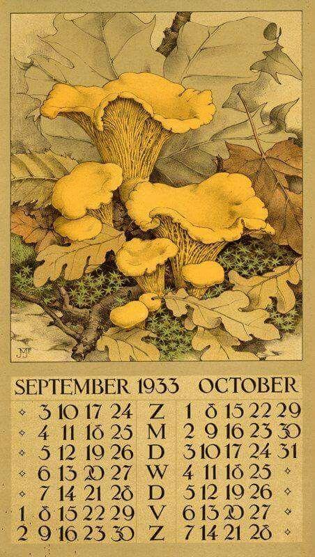1933 Calendar- September & October