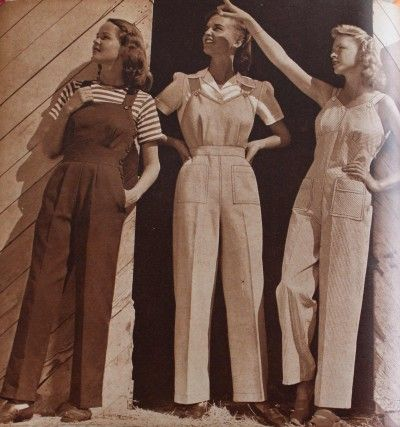 Womens 1940s Pants Styles  History and Buying Guide- 1944 Women's Cotton Overalls