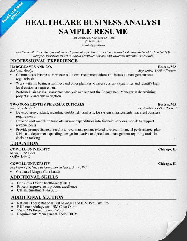 Healthcare Business Analyst Resume Example (   resumecompanion - sample health risk assessment