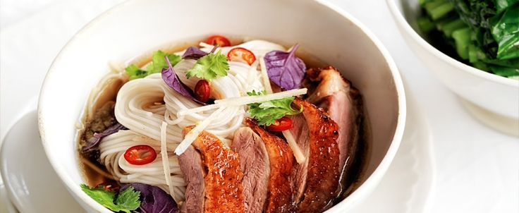 Flavoured with aromatic ginger and coriander, this barbecued duck with noodle broth is a tasty and simple meal for the cooler months.
