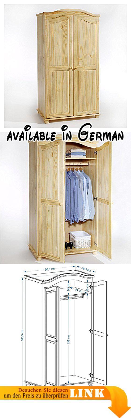 B00H8C445A : Garderobenschrank Dielenschrank Kleiderschrank DAVOS Kiefer 2-türig 2 Türen natur. Aufbaumaß Kleiderschrank: 97 x 184 x 59 cm (B x H x T). gefertigt aus massivem Kiefernholz. in natur honigfarben oder weiß lackiert. ideal auch als Garderobenschrank. inklusive Hutablage und Kleiderstange