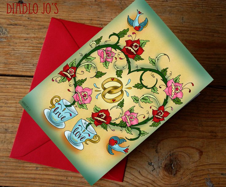 Tattoo Rose wedding Card for Congratulations or Invitation, Rockabilly Tea Cups by DiabloJos on Etsy