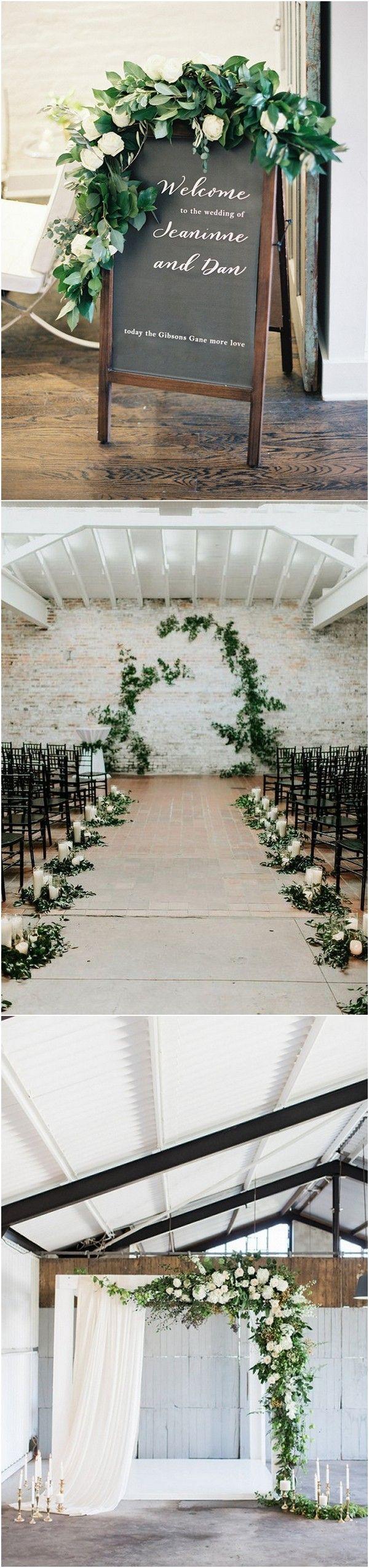 greenery wedding ceremony decoration ideas 2018 trends