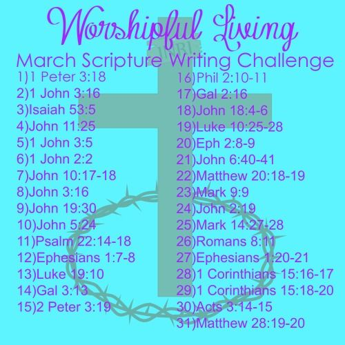 March Scripture Writing Challenge Write out daily scriptures and post on Instagram with the #worshipfullivingscripturewriting Daily Bible Reading, Free Printables Bible Study @WorshipfulLivin