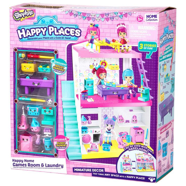 New play sets to explore. Come and visit the Happy Studio. The coolest pad around that attaches to the side of your Happy House. Decorate, display and play the coolest games in your games room. Clean up with your Petkin helpers in the laundry, It's all good clean fun! The games and laundry studio comes with exclusive petkins for you to decorate with!<br><br>Happy Places Shopkins Happy Studio Features: <br><ul><li>Decorate, display and play the coolest games ...
