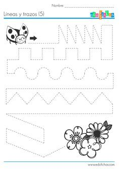 Ejercicio de dibujar y trazar líneas repasando una línea punteada. Repasar líneas. Ejercicio con líneas variadas: rectas, en zigzag, circulares... etc...