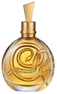 Serpent, the signature symbol of Roberto Cavalli, is feminine, sensual and dangerously charming. The composition is built around mango blossom known in Hindu legends as the food of Gods. According to a Brazilian legend, snakes eat mango blossom. This floral-oriental composition opens with sweet mandarin notes and mango blossom. The heart introduces exotic Tiare flower and rich scent of Frangipani blossom, refined by violets and black pepper. The oriental base is built on harmony of Tolu…