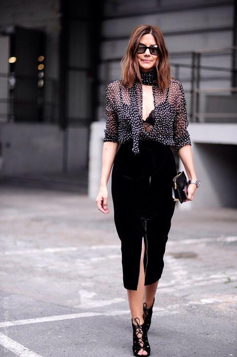Christine Centenera, polka dots shirt, pencil skirt, petite fashion, office style