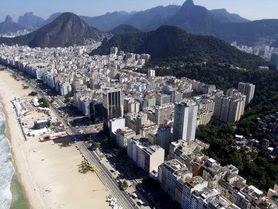 View of Copacabana From a Helicopter, Rio De Janeiro, Brazil, South America