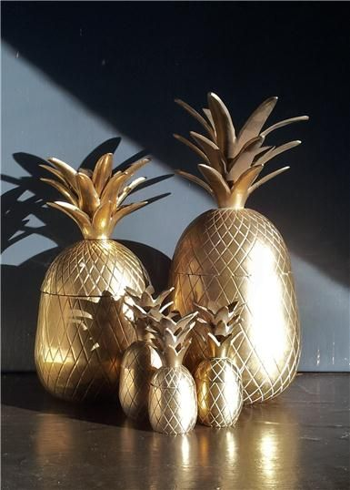 vintage mid century brass pineapples drool