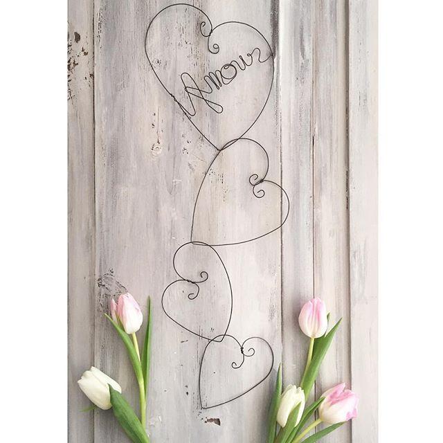Hearts garland Amour en fil de fer