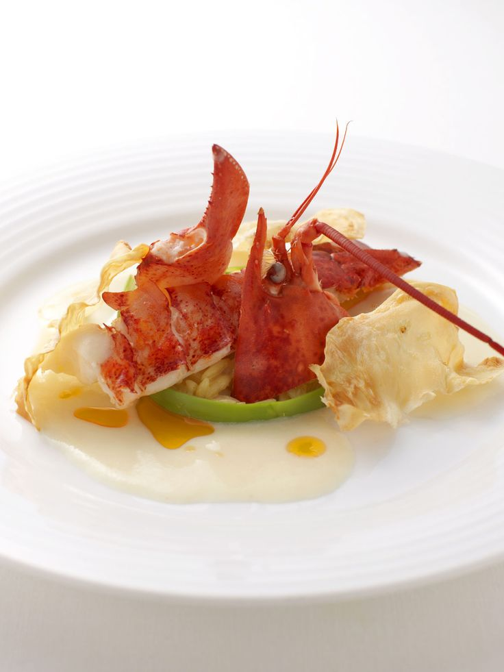 Celery love sauce of spiny lobster flavored with poeler curry with rizoni