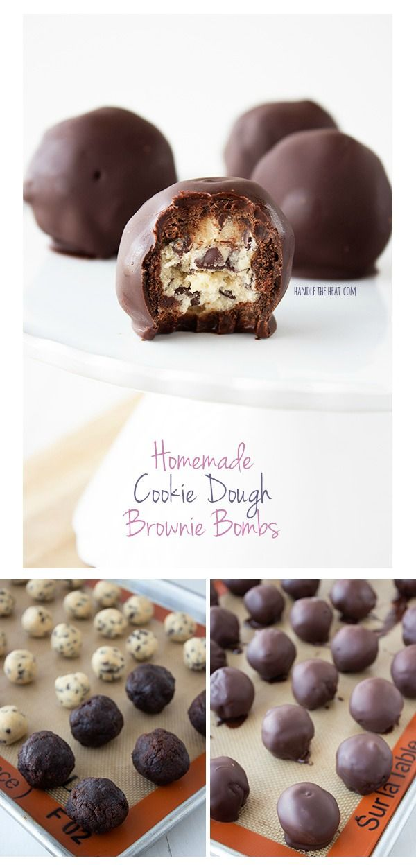 Homemade cookie dough brownie bombs: egg-free cookie dough balls covered in fudgy homemade brownie and dipped in chocolate. Outrageous!
