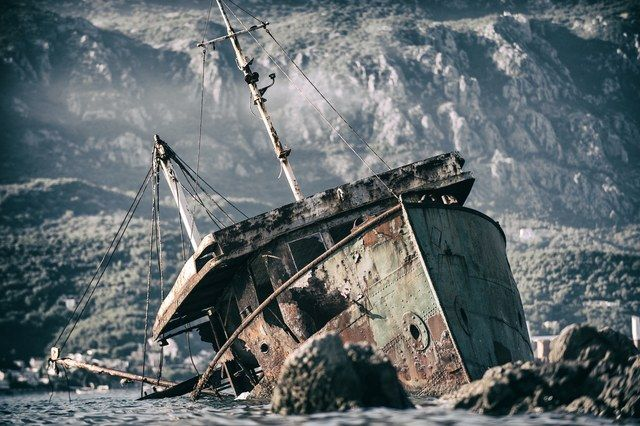 Each year, hundreds of small fishing boats are ruined, such as the one pictured here, which remains off of the Montenegrin coast.