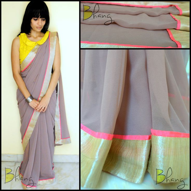 Grey+Neon Pink +Yellow Saree