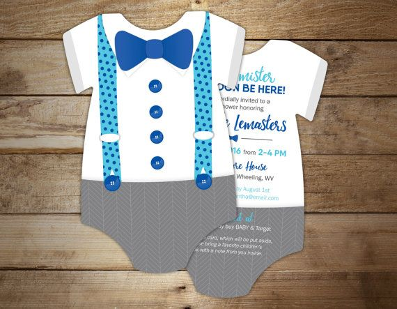 10 Bow Tie Baby Shower Invitations Blue And By LittleBeesGraphics