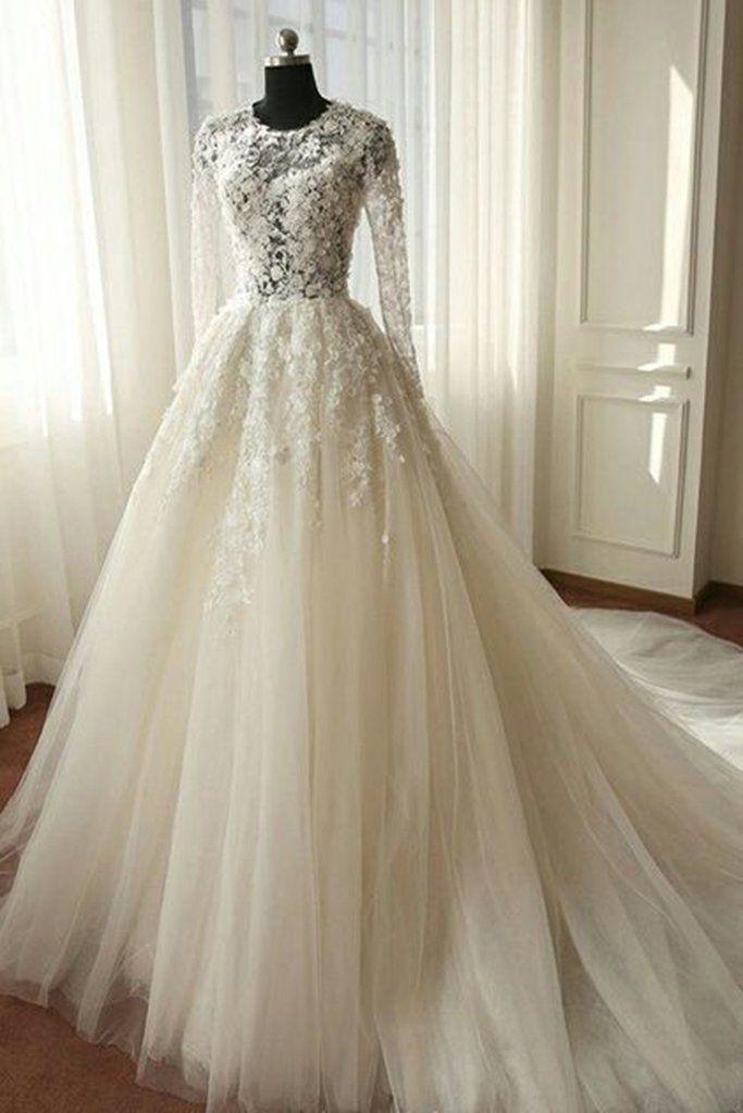 Weiße Organza-Spitze mit langen Ärmeln durchsichtige A-Linie lange Kleider, Brautkleider