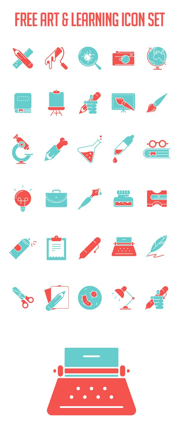 Free Art & Learning Icon Set #freeicons #psdicons #svgicons #vectoricons #outlineicons