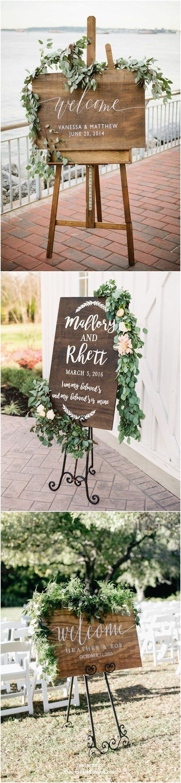 20 sinais de boas-vindas de madeira rústica de casamento de vegetação   – Wedding Welcome Board