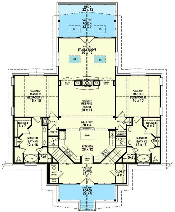 Dual Master Suites 58566sv Mountain Vacation 1st Floor Master