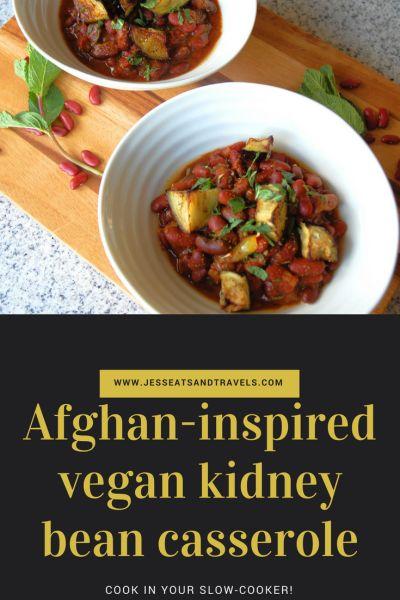 Afghan inspired vegan kidney bean slow cooker casserole