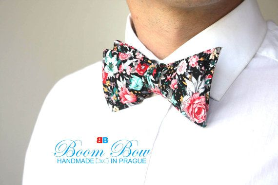 Mens bow tie Floral Cotton men's self tied Bow Tie  Untied