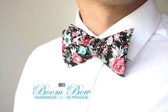 Mens bow tie Floral Cotton men's self tied Bow Tie  Untied