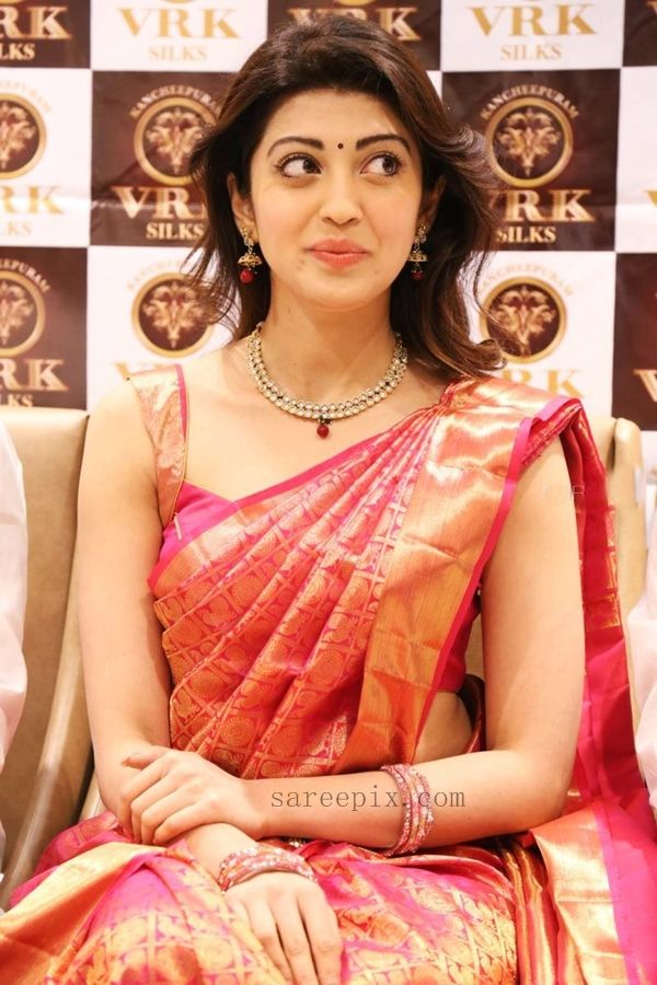 Actress Pranitha silk saree at VRK silks showroom launch. The kannada heroine looked cute in kanjeevaram silk saree with matching straps blouse.