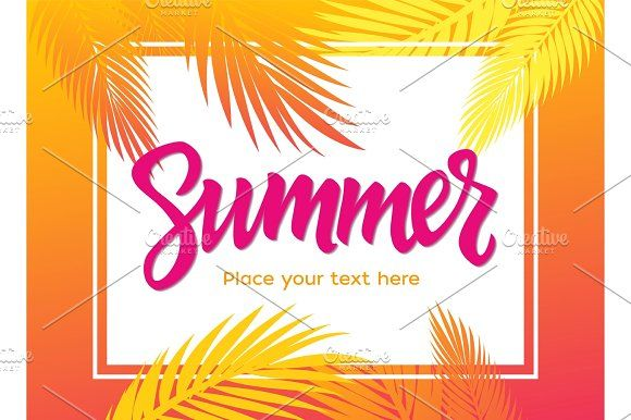 Summer - vector leaflet template with brush lettering  @creativework247