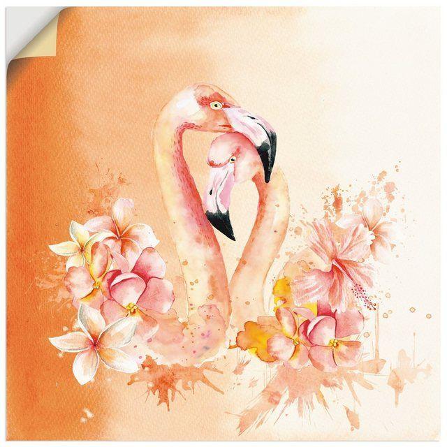 Premium Wandfolie »UtArt: Orange Flamingo in Love- Illustration«