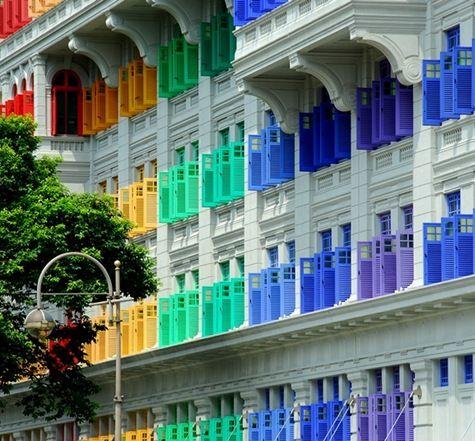 Rainbow shutters in Singapore