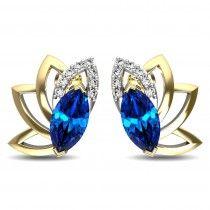 A half lotus diamond and sapphire earring to brighten up the look on a dull evening. #giftadiamond #budgetdiamondjewellery