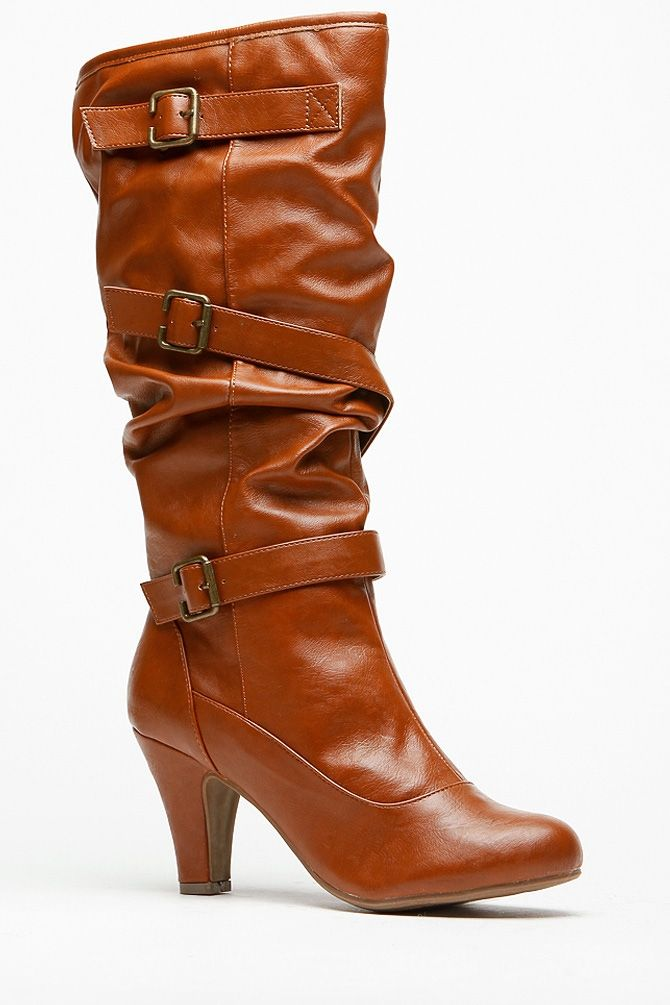 Chestnut Faux Leather Buckle Up Boots