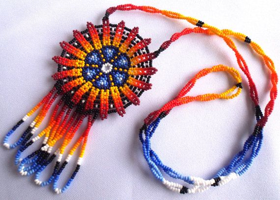 Mexican Huichol Beaded Peyote flower necklace by Aramara on Etsy
