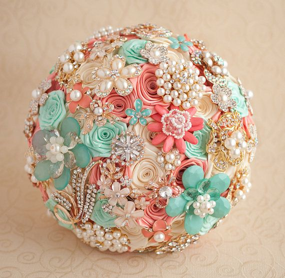 Crystal Brooch bouquet. Coral Mint and Gold by MagnoliaHandmade