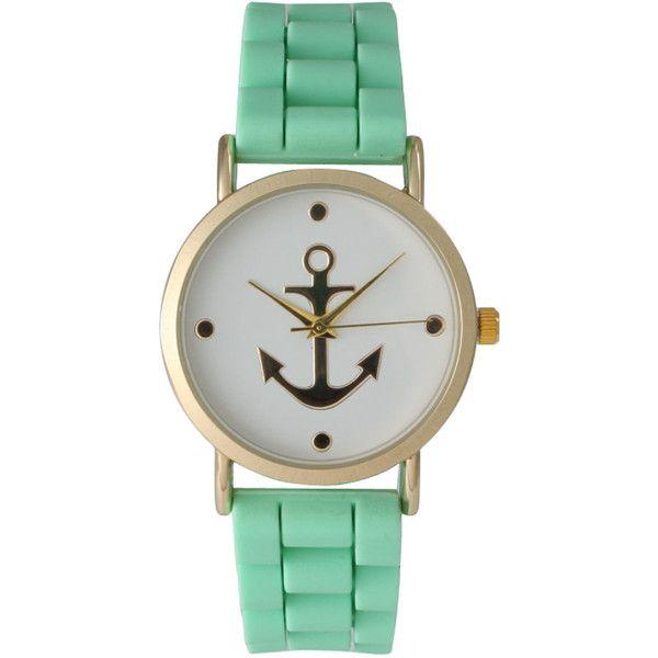 Olivia Pratt Olivia Pratt Women's Silicone Anchor Emblem Watch (225 SEK) ❤ liked on Polyvore featuring jewelry, watches, mint, silicone strap watches, silicon watches, crown jewelry, silicone watches and buckle jewelry