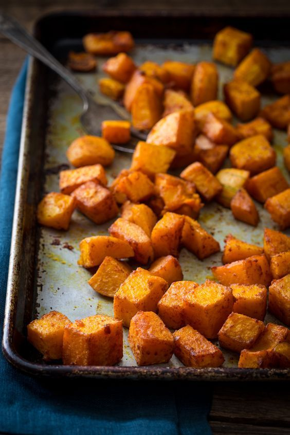 Roasted Butternut Squash with Smoked Paprika and Tumeric Recipe only 10 mintes of effort, gluten free, vegan and paleo on http://healthyseasonalrecipes.com