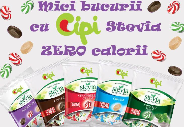 Acum poti comanda Cipi Stevia Zero Calorii! Cu ingrediente naturale, gust delicios si un continut redus de calorii, aceste bomboane sunt deliciul nostru inofensiv!