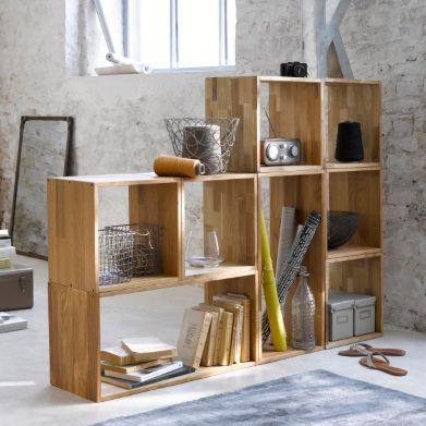 Printer, Paper, and Accessories Cube rangement, chêne massif, EDGAR, lot de 2, La Redoute