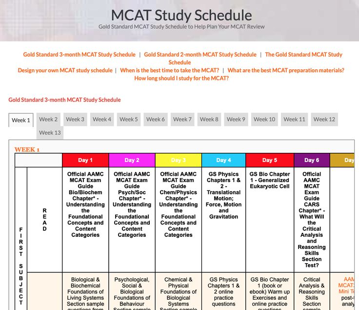 Mcat Study Schedule Mcat Study Schedule Mcat Study Study Schedule
