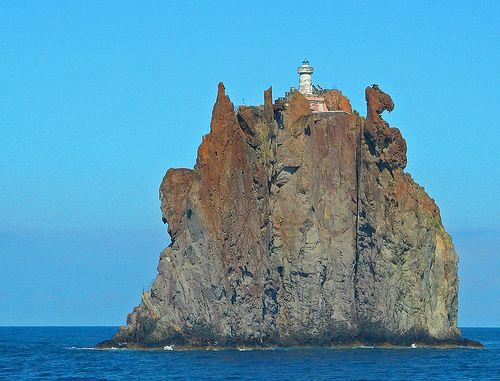 Lighthouse on Strombolicchio, in front of Stromboli