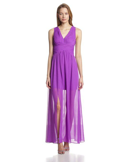 Hailey by Adrianna Papell Women's Sleeveless Gown with Side Slit, Violet, 14
