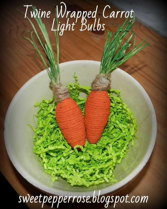 Twine Wrapped {Carrot} Light Bulbs